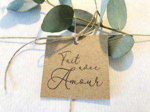 Etiquette Fait avec amour cadeaux