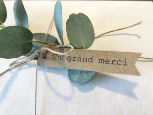 Etiquette Un grand merci cadeaux