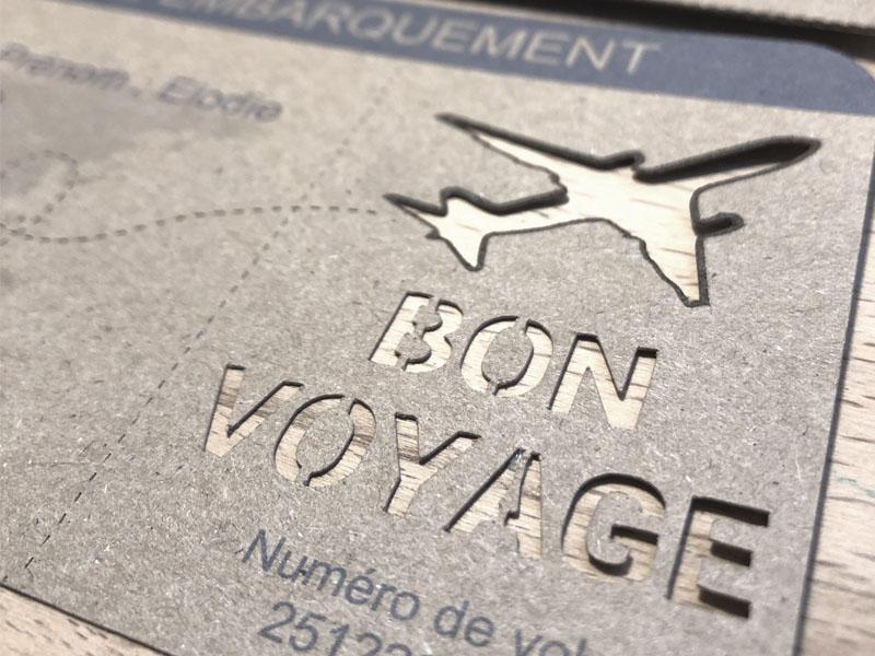 billet d'avion faire-part carte